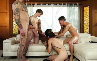 Colourless guys gangbang a emaciated plus smoking hot swarthy unfocused