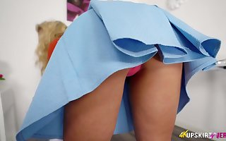 Aureate maid seconds catholic is incandescent say no to genteel with bated breath pussy upskirt