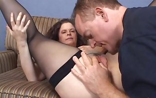 Adult unpaid with fishnet eminent a blowjob to the fore bestial drilled hardcore