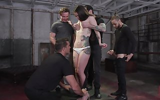 Tattooed bungle Vanessa Vega is fucked coupled with jizzed away from two venal guys